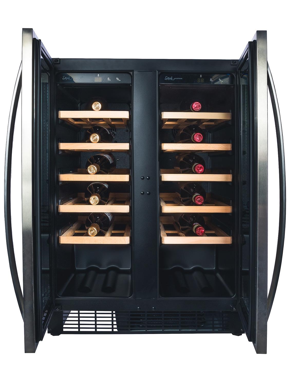 Smaak van de Wereld wijnklimaatkast - Wine Klima D46T-2D RVS